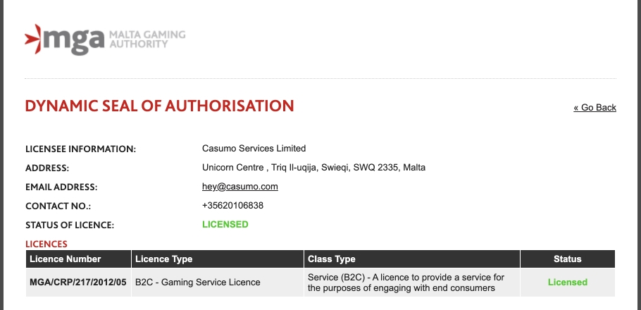 casumo-license