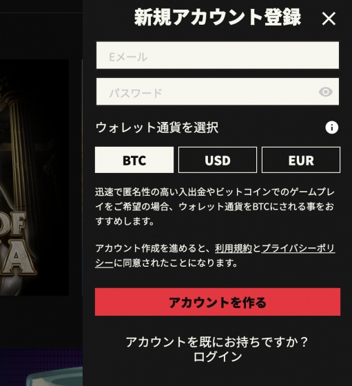 ノーリミットカジノのアカウント情報入力画面