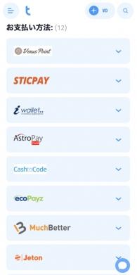 ツインカジノの入金画面
